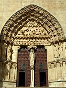 The main gate of sarmental at the Burgos gothic cathedral