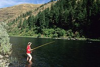 Fishing at Grande Ronde River, Botts Fish & Wildlife Access, Asotin County, Washington