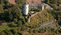 Kreuzberg Castle, Altenahr, Germany, aerial photo