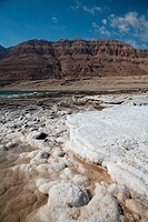 Middle East, Israel, Dead Sea salt on coast and in water