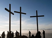 Three Crosses and Tourists on the Hilltop, San Maurizio, Brunate, Como, Italy
