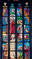 Part of the Stained Glass Southern Window of the St. Vitus Cathedral Chevet, designed by Max Svabinsky in 1939. The artwork depicts St. Wenceslas and ...