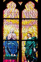 Part of the stained glass window, in the Chapel of St Ludmila, Southern Aisle of the St Vitus Cathedral, Prague, Czech Republic. The window, designed ...