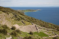 The theater was situated south of the agora, its auditorium facing the southern shore of Assos towards the island of Lesbos. The symmetrical theater w...