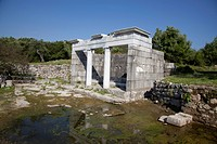The Nymphaeum monumental fountain dating to 1st Century AD. This structure which is thought to be dedicated to the Roman emperor, Vespasian, was resto...