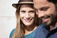 Germany, Cologne, Young couple smiling
