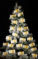 Euro bills on Christmas tree