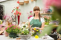 Florist at work in flower shop