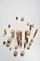 Small pieces of wood arranged like building