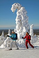 Crosscountry skiing near snow sculpture around a frozen tree in Finnish Lapland