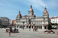 Plaza del Ayuntamiento de Galicia, La Coruña, Galicia, Spain, Europe.
