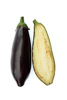 Whole and sliced aubergines