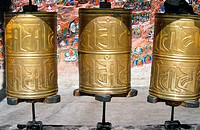 Prayer wheels at 1000 Buddhas shrine on the Lingkor pilgrim way Lhasa Tibet