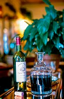Paris, France , Dteail Bottle of Natural Red French WIne on top of Bar in a Old Bistro Restaurant