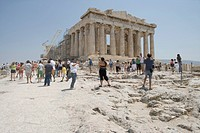 Tourists in front of the Parthenon, Acropolis Athens, Greece