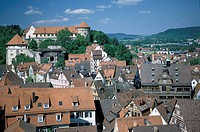 Old Town and castle, Tuebingen, Baden_Wuerttemberg, Germany