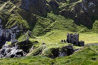 United Kingdom, Northern Ireland, County Antrim, View of Kinbane Castle