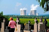 Cemetery in front of nuclear powerplant, Nitra, western Slovakia, Europe