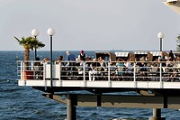 Restaurant Ponte Rialto on the pier, Baltic Sea, Seaside Resort Herringsdorf, Island of Usedom, Mecklenburg_Western Pomerania, Germany