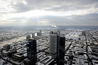 Snowscape, office and banking district in winter, Frankfurt am Main, Hesse, Germany