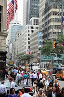 The view of Fifth Avenue in Midtown Manhattan  New York City  USA