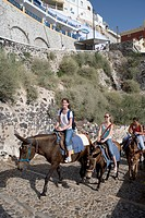 Tourists on Donkey Mules, Fira, Santorini, Cyclades, Greece