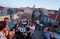 Cafe bar, Zakerjan Tower, Korcula Town, Korcula, Dubrovnik_Neretva County, Dalmatia, Croatia