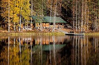 Large sauna log cabin by a lake in the forest  Location Palolampi Lintharju Suonenjoki Finland Scandinavia Europe