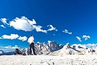 Hiker on Drei Zinnen Trail, Tre Cime di Lavaredo, Dolomites, Italy, Europe