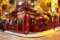 The Temple Bar, a traditional pub in the Temple Bar entertainment district of Dublin, Ireland, Europe