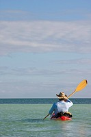 Man Kayaking on Ocean, Rear View, Florida Keys, USA