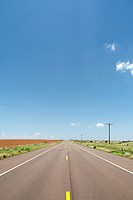 Highway Across Rural Plains, Texas, USA