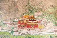Tibetan Buddhism, main monastery of the Karma Kagyu lineage, Tsurphu in Tibet, mural at the entrance to the Rumtek Monastery near Gangtok, Sikkim, Him...