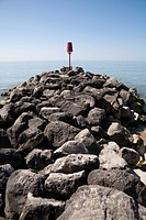 Rock stone groynes sea defences at Barton on Sea, Hampshire, England, United Kingdom, Europe