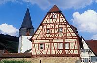 Goetzenhaus building in Niedernhall, Kocher Valley, Hohenlohe, Baden-Wuerttemberg, Germany, Europe