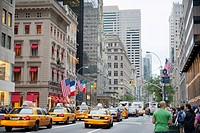 Traffic in the metropolis, yellow cabs, taxis in 5th Avenue, Manhattan, New York City, New York, USA, North America, America