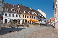 Wurzen, Liegenbank street at the market square, Muldental district, Saxony, Germany, Europe