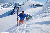 Two mountaineers on a skiing tour, ascent to the Schneejoch saddle, Wildstrubel region, Valais, Switzerland, Europe