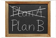 Crossed out Plan A and written Plan B on isolated blackboard.