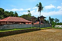 Indonesia, Bali, temple and rice fields