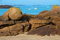 Sea and spectacular rocks, Trebeurden, Cote de Granit Rose Pink Granite Coast, Cotes d'Armor, Brittany, France, Europe
