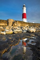 Portland Bill Lighthouse and reflections in a rock pool, Portland, Jurassic Coast, UNESCO World Heritage Site, Dorset, England, United Kingdom, Europe