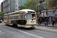 Streetcar Trolley, Vintage F Line, Market Street, San Francisco, California, United States of America, North America