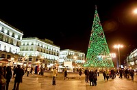 Christmas lights in centrum city of Madrid, Spain