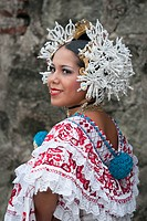 Panamanian woman wearing a pollera, Panama´s national dress, Panama City, Panama, Central America