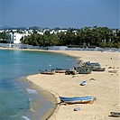 View over beach from the Medina, Hammamet, Cap Bon, Tunisia, North Africa, Africa