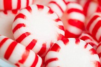 Red and white candies, studio shot