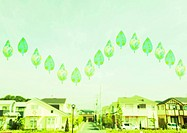 Leaves floating above residential area
