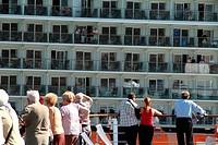 Passengers, Cruise ship, Barcelona harbor, Spain