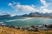 View over beach from Yttersand, Moskenesoy, Lofoten Islands, Norway